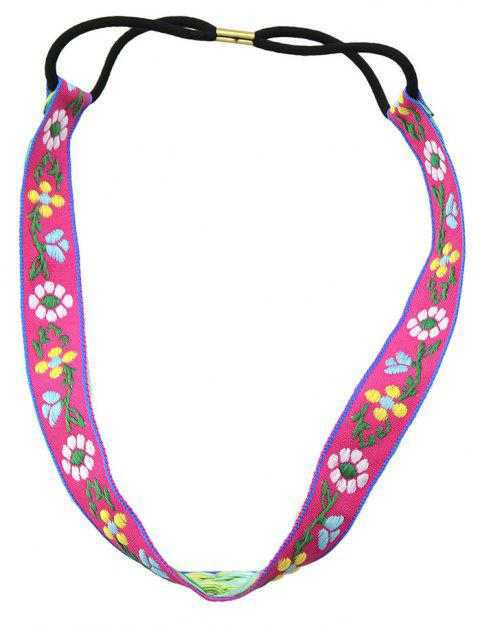 Elastic Braided Rope Ribbon Colorful Flower Pattern Headband - ROSE RED