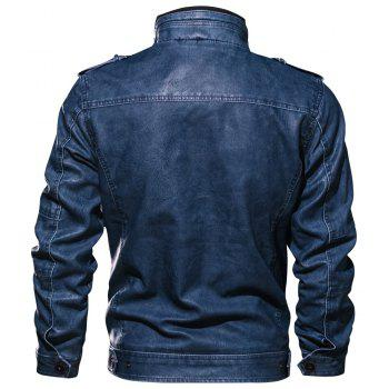 QIQICHEN Men's PU Leather Retro Autumn Jacket - SAPPHIRE BLUE XL