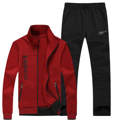 Men Fall Fashion Trend Sports Suit - RED 2XL
