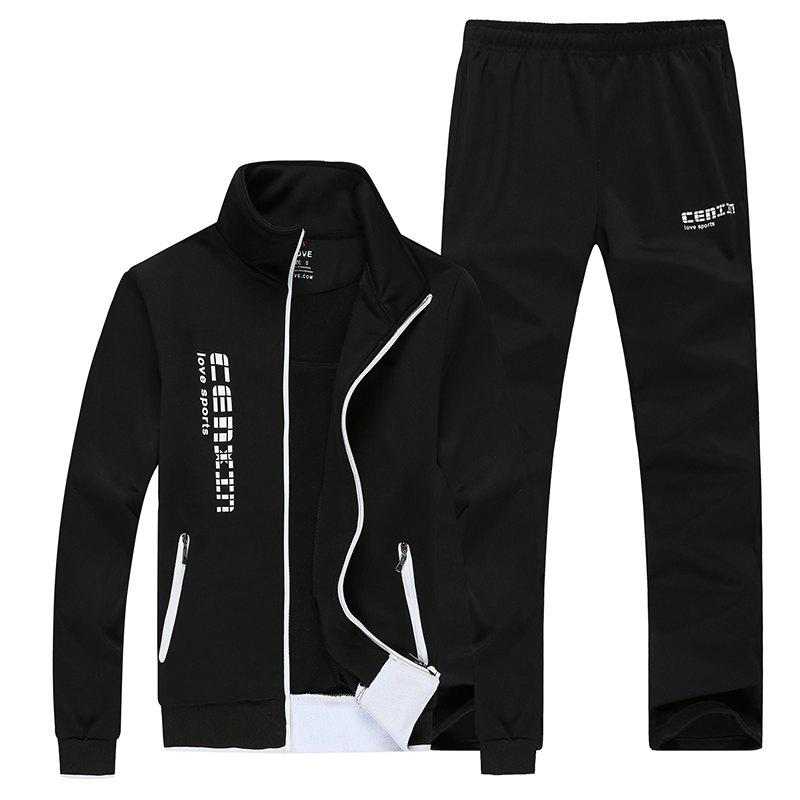 Men Fall Fashion Trend Sports Suit - BLACK XL