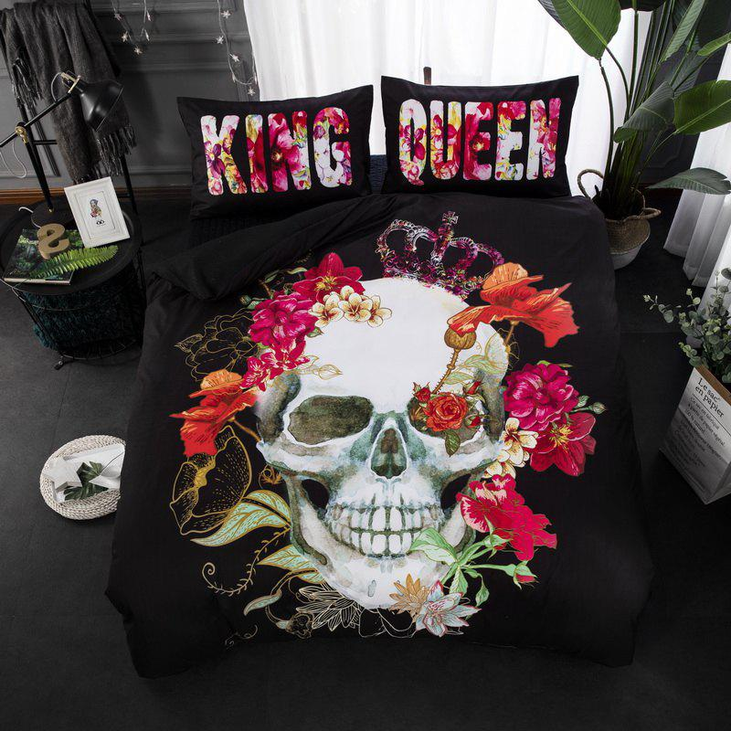 High Quality 3D Flower Skull Three-Piece - multicolor QUEEN