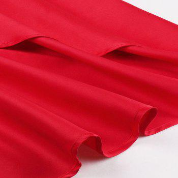 Plus Size Red Bud Silk Joining Long Dress - Rouge 3XL