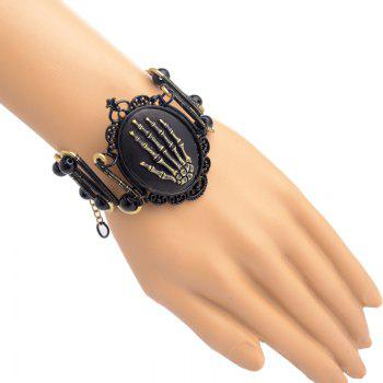 Painted Steampunk Personality Exaggerated Skull Palm Design Bracelet - MIDNIGHT BLACK