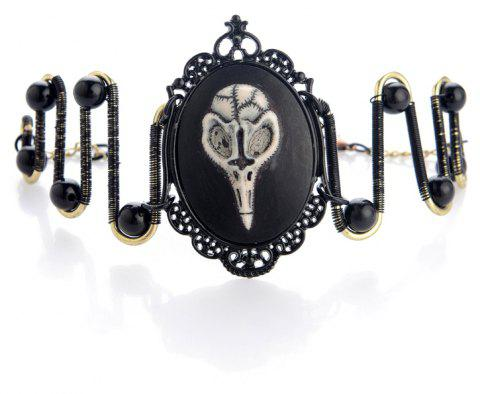 Steampunk Black with Chain Resistant Skeleton Head Bracelet - multicolor
