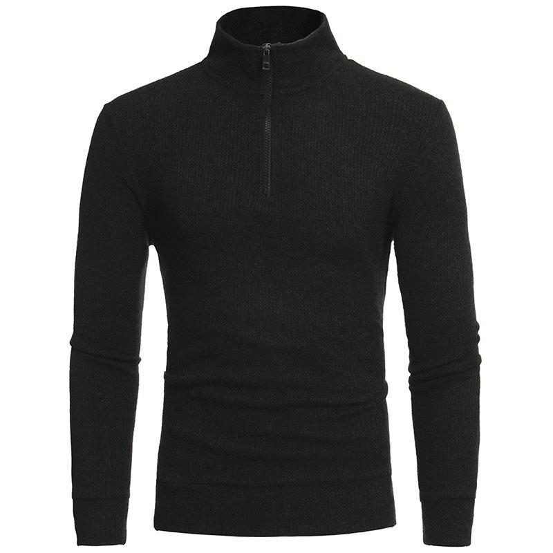 Simple Half-Height Zip Collar Design Men's Casual Slim Knit Sweater W15 - BLACK 2XL
