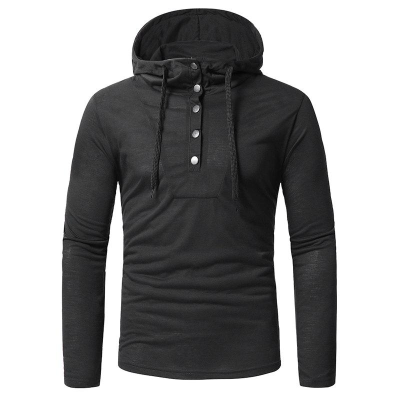 Men's Casual Hooded Slim Long Sleeve T-Shirt T14 - BLACK L