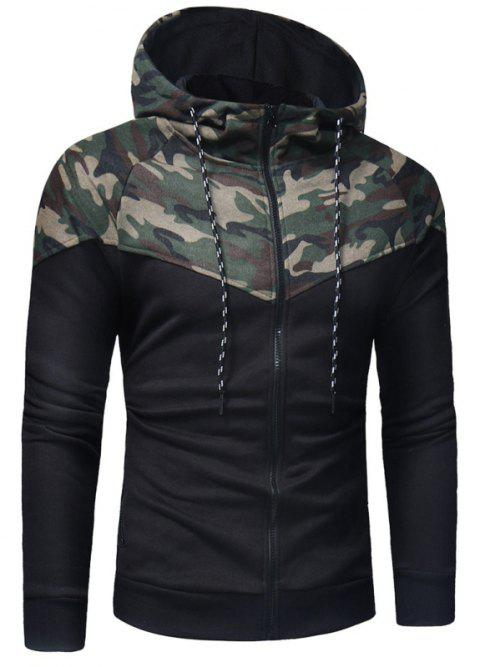 Men's Casual Slim Zipper Hooded Camouflage Sweater W26-1 - ARMY GREEN L