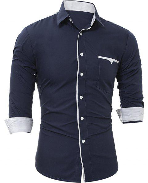 Men's Casual Slim Long Sleeve Shirt 5228 - CADETBLUE M