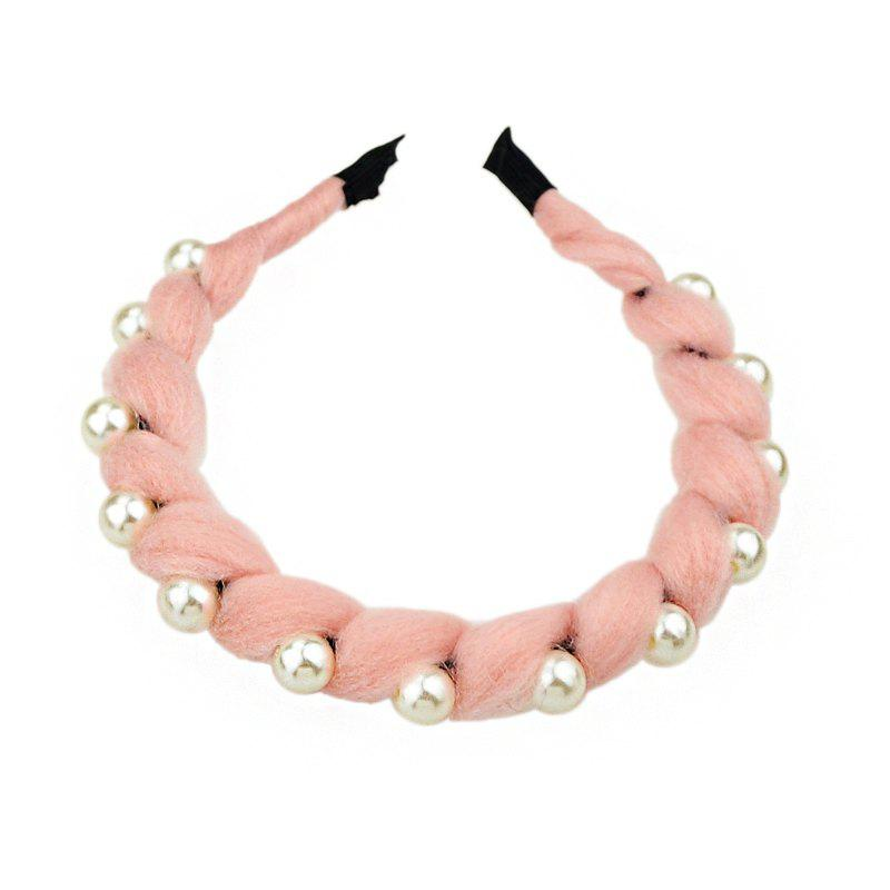 Fashion Colorful Rope Twining Bead Hairband - LIGHT PINK