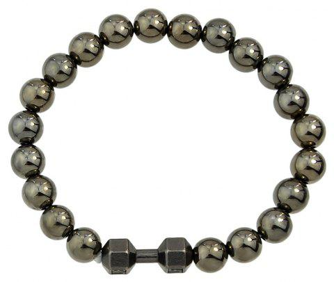 Black Gold Color Elastic Bead Strand Bracelet - BLACK