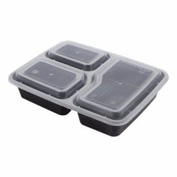 10PCS Microwave Safe Plastic Meal Prep Container Lunch Box Food Storage Takeawa - BLACK