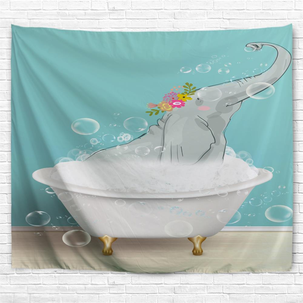 Bathing Elephant 3D Printing Home Wall Hanging Tapestry for Decoration - multicolor W153CMXL130CM