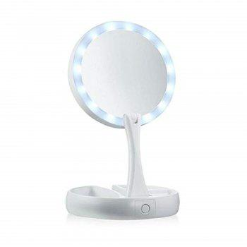 Fold-away Distortion-free LED-illuminated and 360 Rotating Make-Up Mirror - WHITE