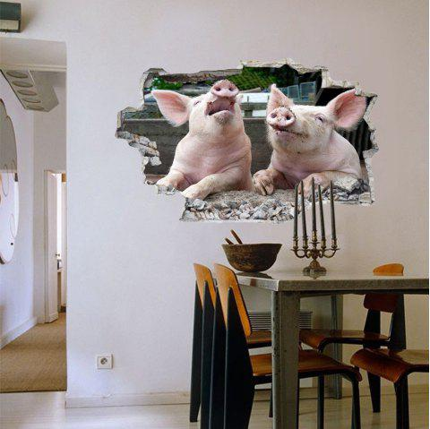 3D Wall Sticker Creative Pig Movable - multicolor