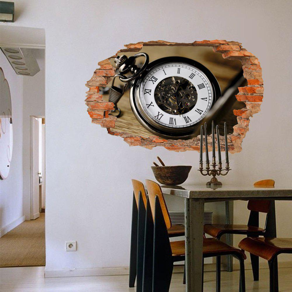 3D Wall Sticker Creative Old Watch Movable - multicolor
