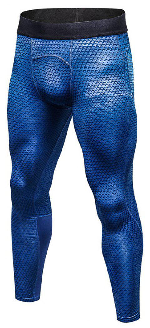 Men's 3D three-dimensional printing fitness running training quick-drying elasti - BLUE XL