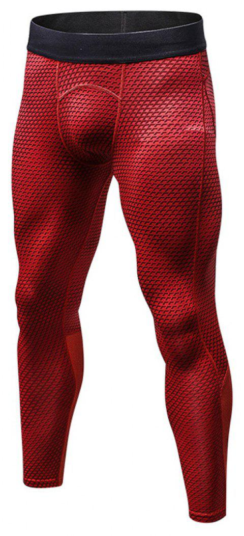 Men's 3D three-dimensional printing fitness running training quick-drying elasti - RED M