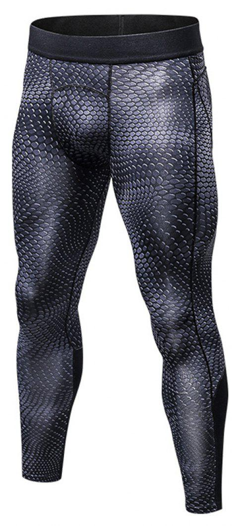 Men's 3D three-dimensional printing fitness running training quick-drying elasti - DARK GRAY M