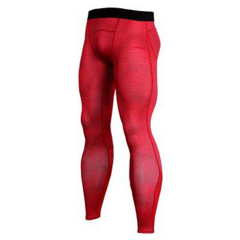 Men's 3D three-dimensional printing fitness running training quick-drying elasti - RED S
