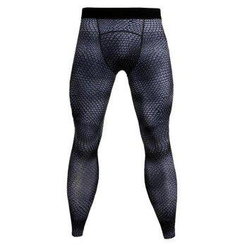Men's 3D three-dimensional printing fitness running training quick-drying elasti - DARK GRAY L