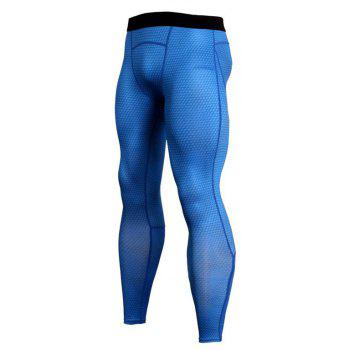 Men's 3D three-dimensional printing fitness running training quick-drying elasti - BLUE L