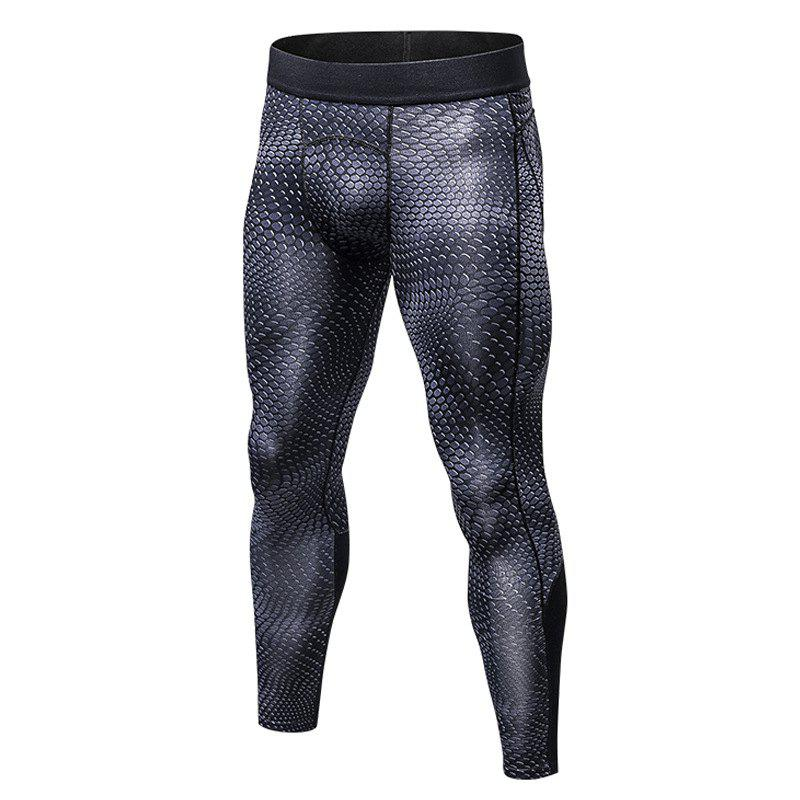 Men's 3D three-dimensional printing fitness running training quick-drying elasti - DARK GRAY S