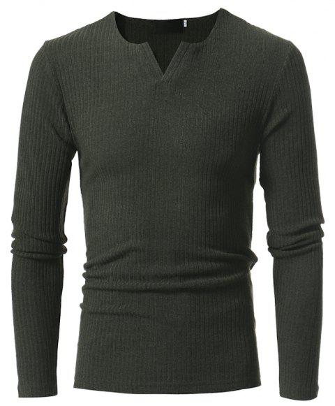 Men's Fashion Stripe Stretch Knit Casual Slim Long-Sleeve Sweater T03 - ARMY GREEN M
