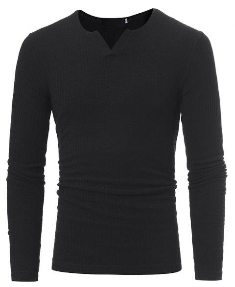 Men's Fashion Stripe Stretch Knit Casual Slim Long-Sleeve Sweater T03 - BLACK L