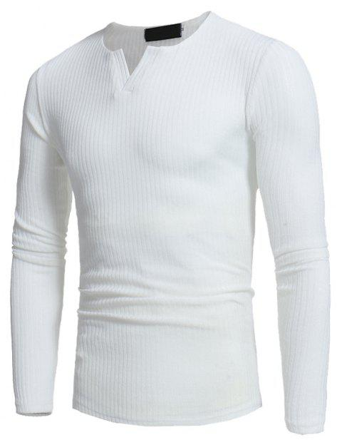 Men's Fashion Stripe Stretch Knit Casual Slim Long-Sleeve Sweater T03 - WHITE M