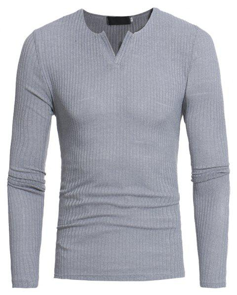 Men's Fashion Stripe Stretch Knit Casual Slim Long-Sleeve Sweater T03 - LIGHT GRAY L