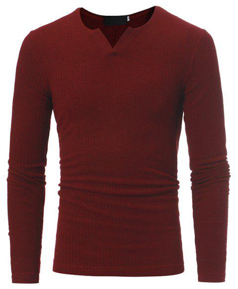 Men's Fashion Stripe Stretch Knit Casual Slim Long-Sleeve Sweater T03 - RED 2XL