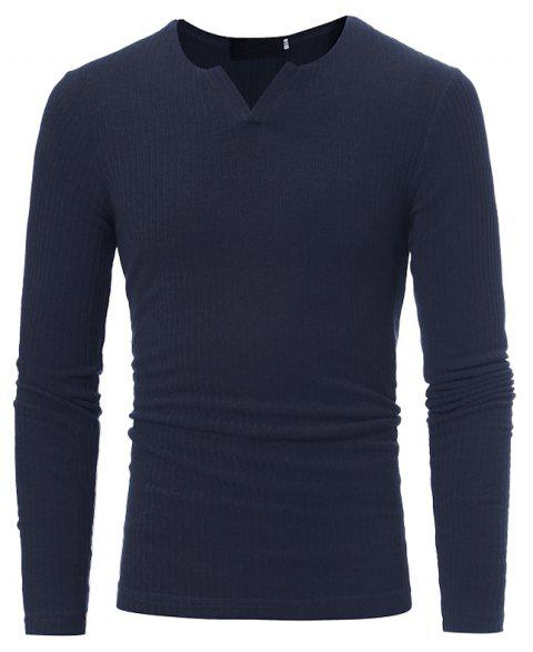 Mode Stripe Stretch Knit décontracté Slim à manches longues chandail T03 - Cadetblue 3XL
