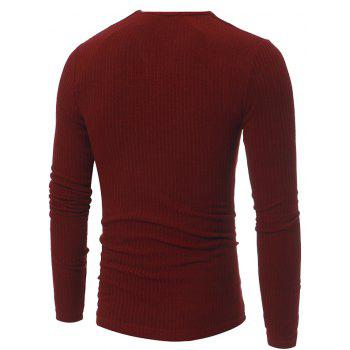 Men's Fashion Stripe Stretch Knit Casual Slim Long-Sleeve Sweater T03 - RED 3XL