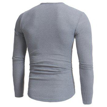 Men's Fashion Stripe Stretch Knit Casual Slim Long-Sleeve Sweater T03 - LIGHT GRAY 2XL