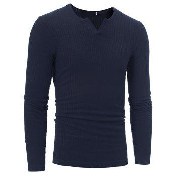 Men's Fashion Stripe Stretch Knit Casual Slim Long-Sleeve Sweater T03 - CADETBLUE L
