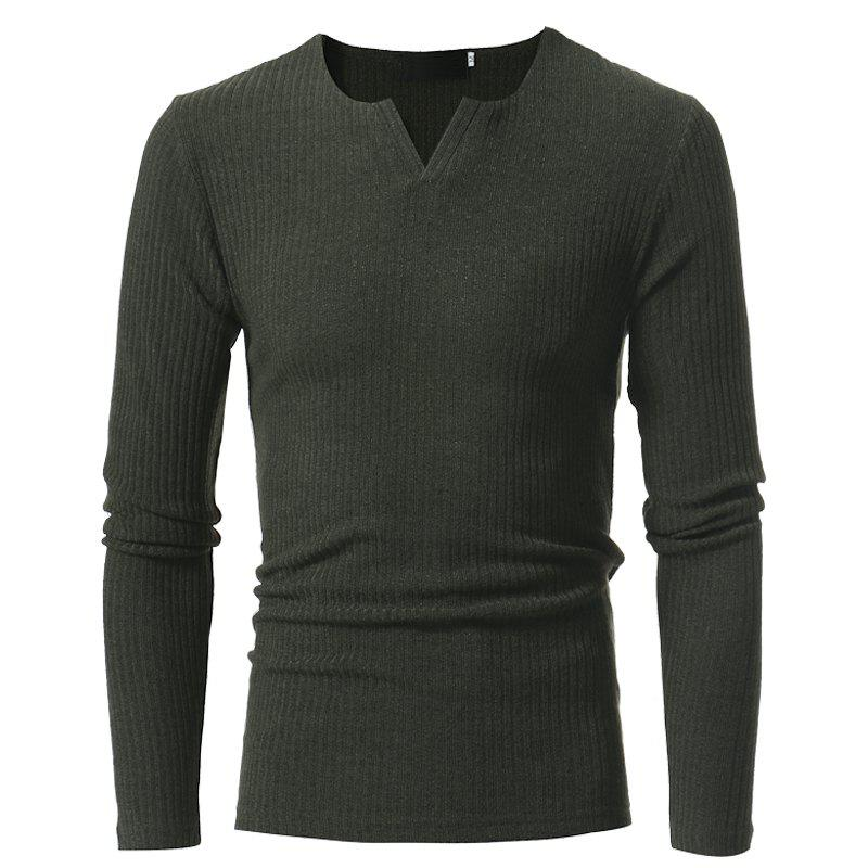 Men's Fashion Stripe Stretch Knit Casual Slim Long-Sleeve Sweater T03 - ARMY GREEN L