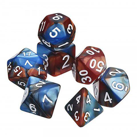 Creative Polyhedral Multi-faceted Dice Board Game 7PCS - STEEL BLUE