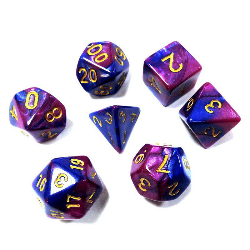 Creative Polyhedral Multi-faceted Dice Board Game 7PCS - PURPLE