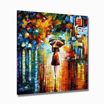 STYLEDECOR Hand Painted Street Female Figure Oil Painting - multicolor 35 X 35 INCH (90CM X 90CM)