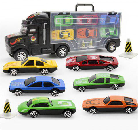 Transport Car Carrier Truck Toy Includes 6 Cars and 28 Slots - BLACK