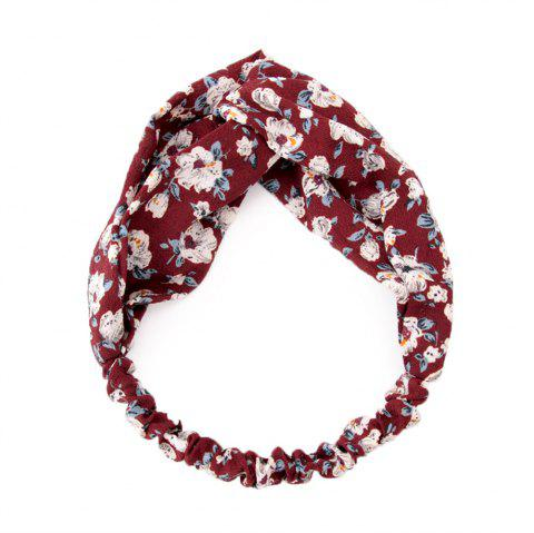 Solid Color Flowers Home Wash Simple Fashion Knotted Hairband - RED WINE