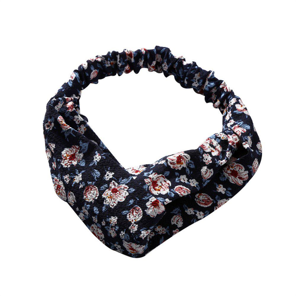 Solid Color Flowers Home Wash Simple Fashion Knotted Hairband - CADETBLUE