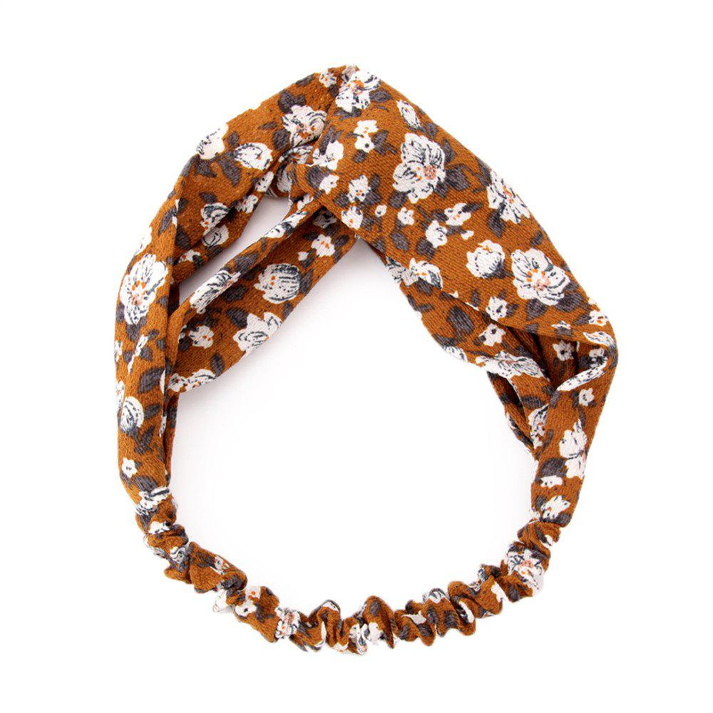 Solid Color Flowers Home Wash Simple Fashion Knotted Hairband - ORANGE GOLD
