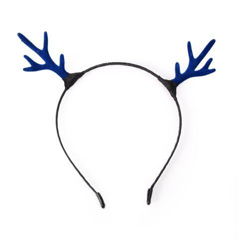Campus Student Fashion Solid Color Simple Antler Headband - BLUE