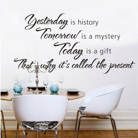 Carved Yesterday is History English Wall Sticker - BLACK