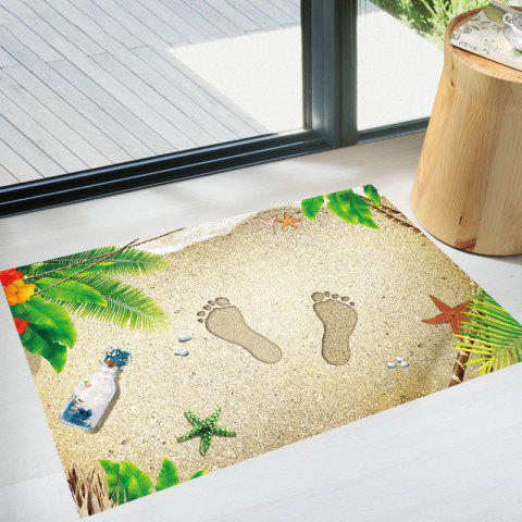 3D Beach Footprints Floor Sticker Creative Doormat - multicolor