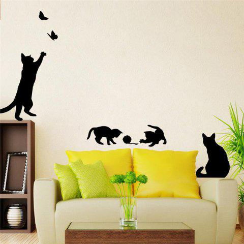 Cat Scratching Butterfly Background Wall Decorative Painting - BLACK