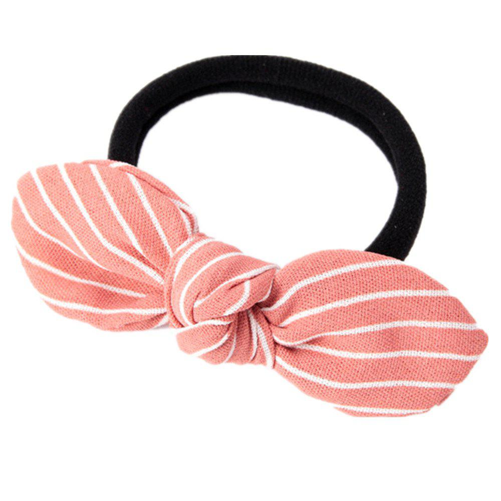 Solid Color Strip Rubber Band Bow Rope - PINK
