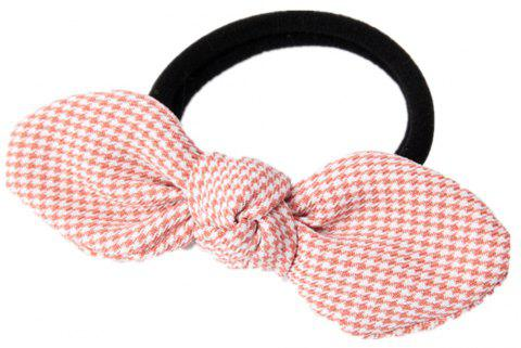Solid Color Houndstooth Rubber Band Bow Rope - PINK