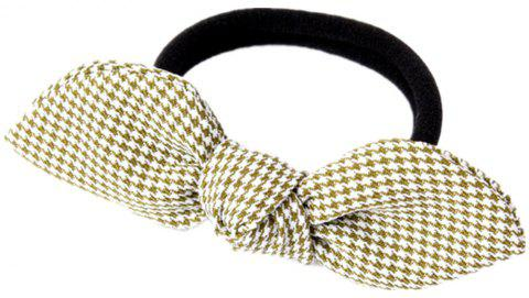 Solid Color Houndstooth Rubber Band Bow Rope - KHAKI